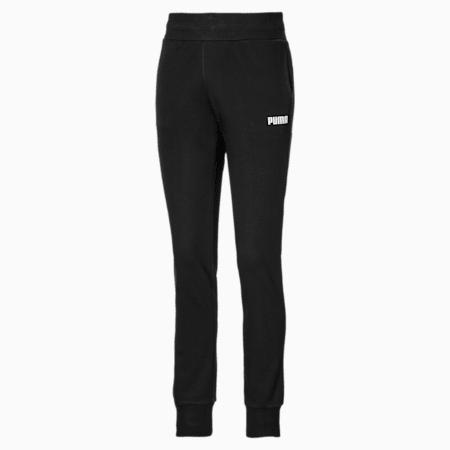 Essentials Cuffed Fleece Women's Sweatpants, Cotton Black, small