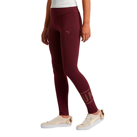ATHLETIC Logo Leggings, Fig-BronzeMedal, small