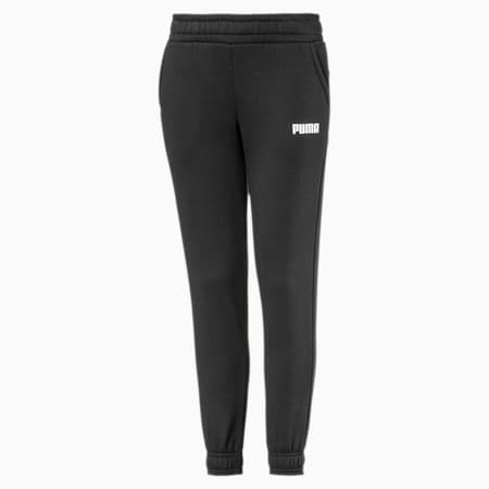 Essentials fleece joggingbroek jongens, Cotton Black, small