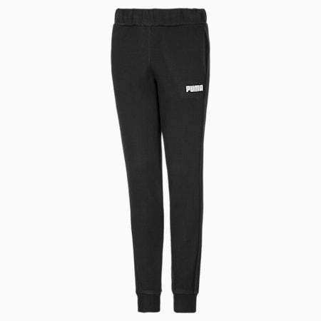 Essentials Cuffed Fleece Girls' Sweatpants, Cotton Black, small-GBR
