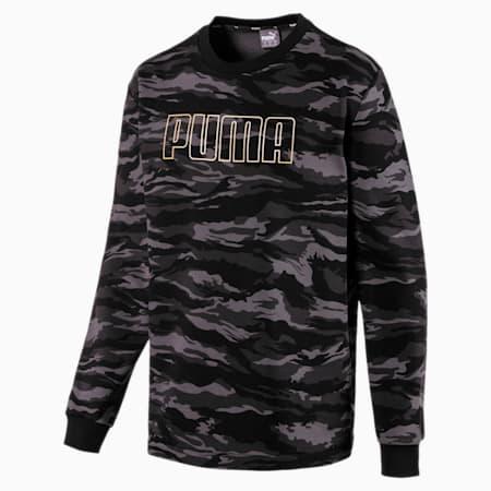Camo Men's Fleece Crewneck Sweatshirt, Cotton Black-Gold, small
