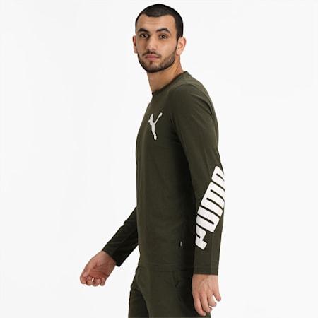 PUMA Logo Men's Pullover Sweatshirt, Forest Night-Puma White, small-IND