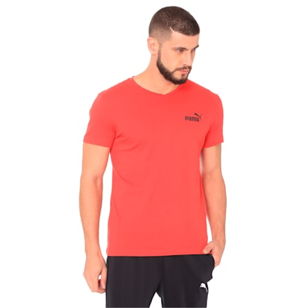 ESS+ V Neck Tee, Ribbon Red, small-IND