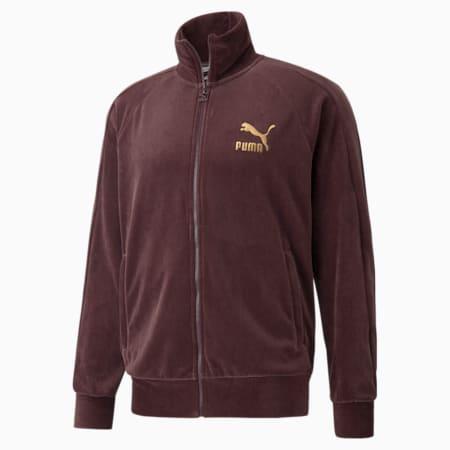 Iconic T7 Velour Men's Track Jacket, Fudge, small-GBR