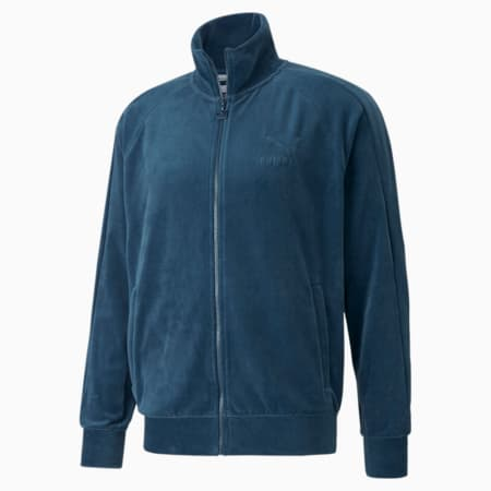 Iconic T7 Velour Men's Track Jacket, Intense Blue, small-GBR