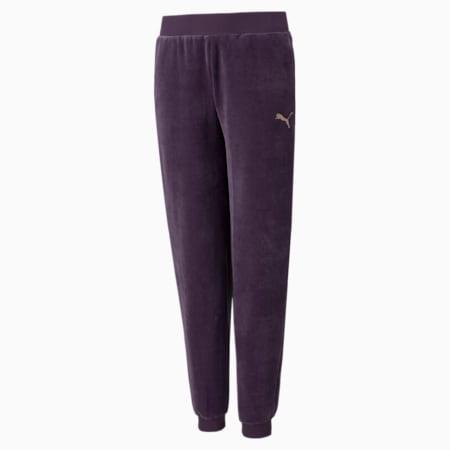 Młodzieżowe welurowe spodnie Alpha, Sweet Grape, small