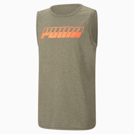 Camiseta jaspeada Performance Muscle Speed para niño JR, BURNED OLIVE HEATHER, pequeño