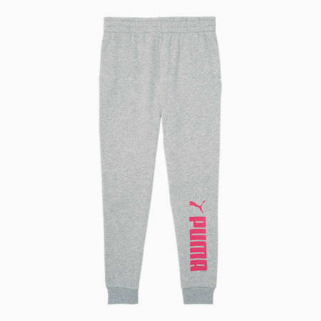 No.1 Logo Girls' Fleece Joggers JR, LT HEATHER GREY, small