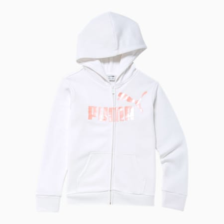 No.1 Logo Girls' Fleece Zip Up Hoodie JR, PUMA WHITE, small