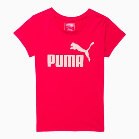 Camiseta estampada con logo N°1 para niñas JR, ROSA BRILLANTE, pequeño