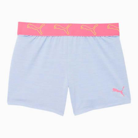 Shorts con pretina de jacquard y teñido espaciado Stay Bold para niñas JR, TEÑIDO ESPACIADO PÚRPURA Y HEATHER, pequeño
