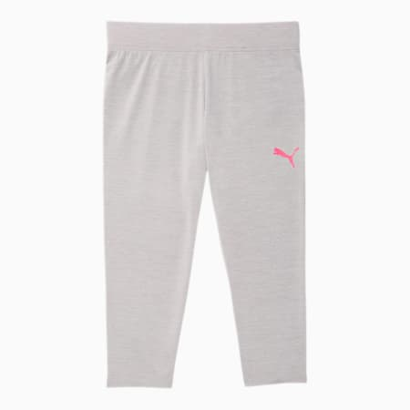 PUMA Girls' Capri Leggings JR, LT HEATHER GREY, small