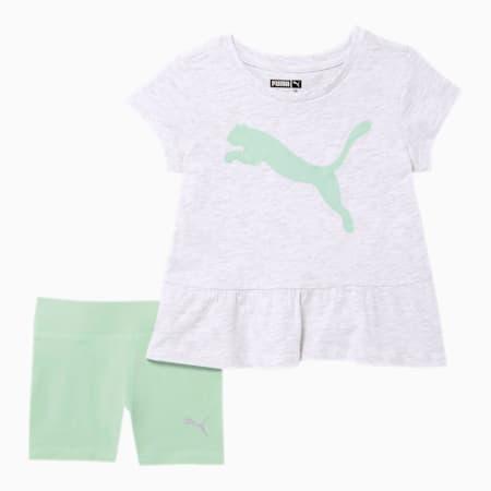 Infant + Toddler Tee + Biker Short Set, WHITE HEATHER, small
