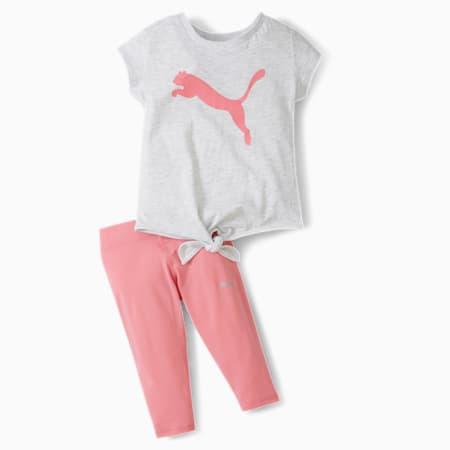 Tie Front Tee + Capri Legging Infant + Toddler Set, WHITE HEATHER, small