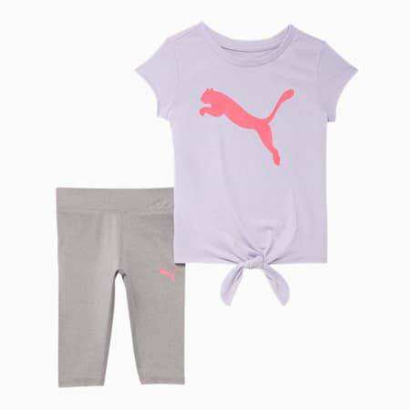 Tie Front Tee + Capri Legging Infant + Toddler Set, PURPLE HEATHER, small