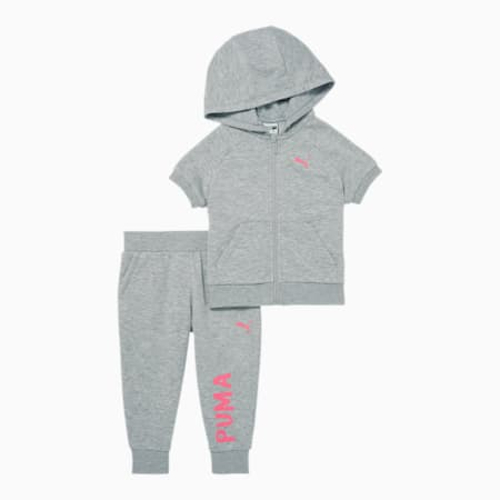French Terry Zip Up Hoodie + Capri Jogger Infant + Toddler Set, LT HEATHER GREY, small