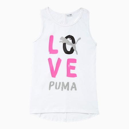 Camiseta sin mangas Alpha contiras cruzadas en la espaldade diseñador para niñas JR, PUMA WHITE, pequeño