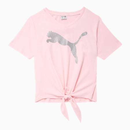 Alpha Girls' Tie Front Fashion Tee JR, CHERRY BLOSSOM, small