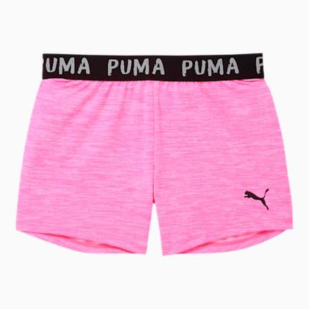 Shorts con pretina de jacquard y teñido espaciado Alpha para niñas JR, FLUO PINK HEATHER, pequeño