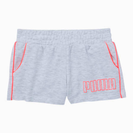 Graphic Injection Toddler French Terry Shorts, WHITE HEATHER, small