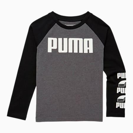 Camiseta de mangas largas raglán Rebel Blockpara niño pequeño, CHARCOAL HEATHER, pequeño