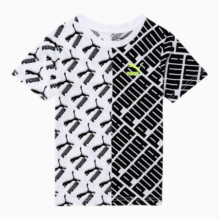 Graphic Little Kids' AOP Tee, PUMA BLACK/WHITE, small