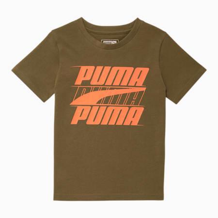 Camiseta estampada Speed para niños pequeños, BURNED OLIVE, pequeño