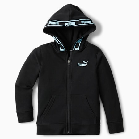 No.1 Logo Little Kids' Fleece Zip Up Hoodie, PUMA BLACK, small