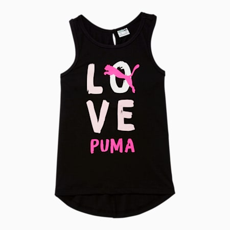 Camiseta sin mangas Alpha contiras cruzadas en la espaldade diseñador para niños pequeños, PUMA BLACK, pequeño