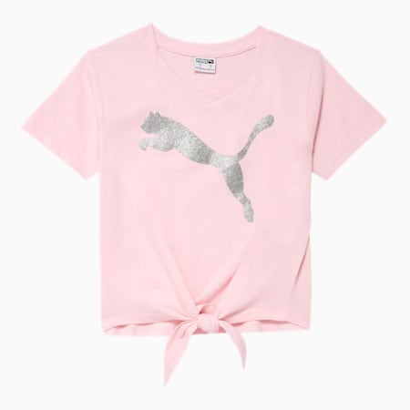 Alpha Little Kids' Tie Front Fashion Tee, CHERRY BLOSSOM, small