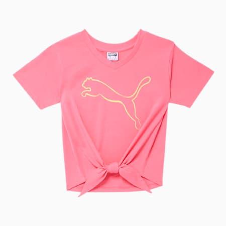 Camiseta Stay Bold de diseñador con nudo en el frente para niños pequeños, BUBBLE GUM, pequeño