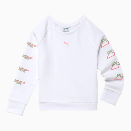 Evide Little Kids' Fleece Crewneck Pullover, PUMA WHITE, small