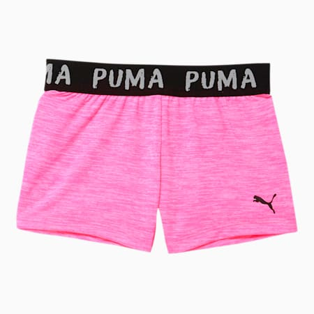 Alpha Little Kids' Space-Dyed Jacquard Waistband Shorts, FLUO PINK HEATHER, small