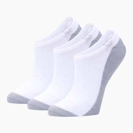 Calcetines tobilleras para mujer [paquete de 3], BLANCO / GRIS, pequeño