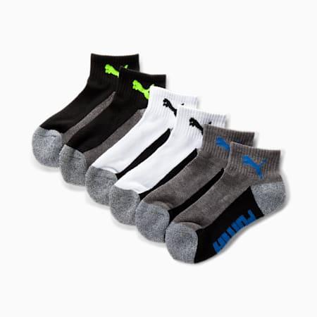Calcetines deportivos tres cuartos para niños [paquete de 6], NEGRO / VERDE, pequeño
