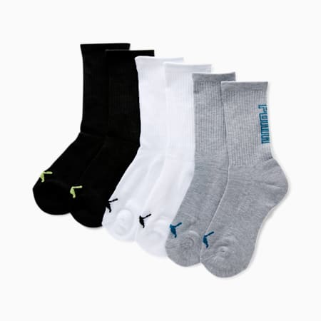 Calcetines deportivos tres cuartos para niño [paquete de 6], GRIS / AZUL, pequeño