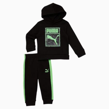 Classics Graphic Toddler Hoodie + Jogger Set, PUMA BLACK, small