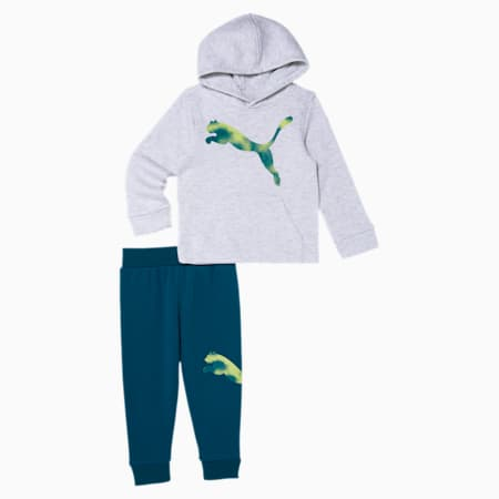 Big Cat Toddler Hoodie + Jogger Set, WHITE HEATHER, small
