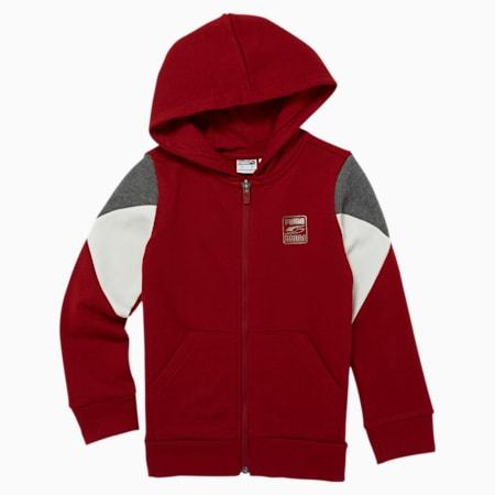 Rebel Little Kids' Fleece Zip Up Hoodie, RED DAHLIA, small