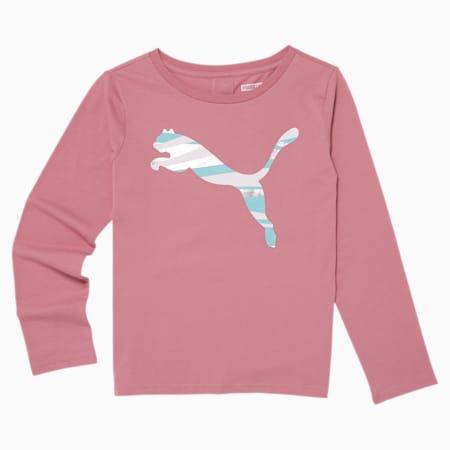 No.1 Logo Girls' Long Sleeve Fashion Tee JR, Fox Glove, small