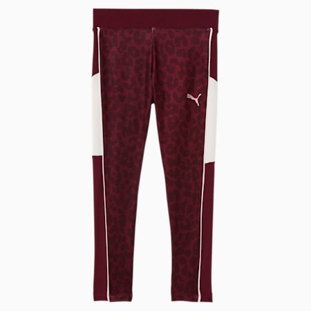 Alpha Little Kids' Colorblocked Leggings, BURGUNDY, small