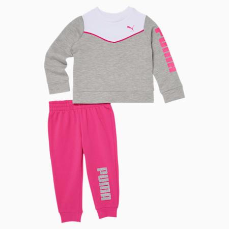 Infant + Toddler Fleece Crewneck Sweatshirt + Jogger Set, LIGHT HEATHER GREY, small
