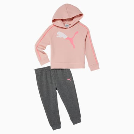 Fleece Hoodie + Jogger Toddler Set, PEACH SKIN, small