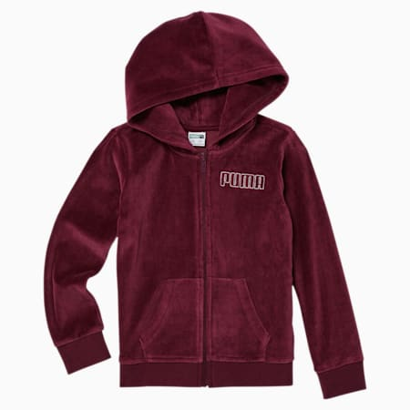 Alpha Little Kids' Velour Full Zip Hoodie, BURGUNDY, small