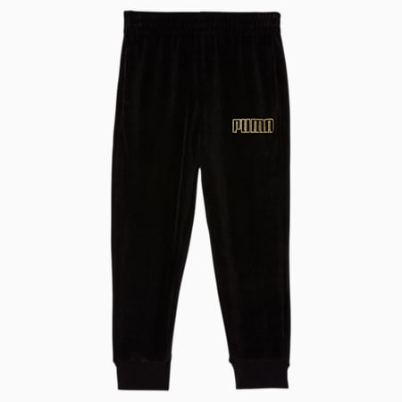 Alpha Little Kids' Velour Joggers, PUMA BLACK, small