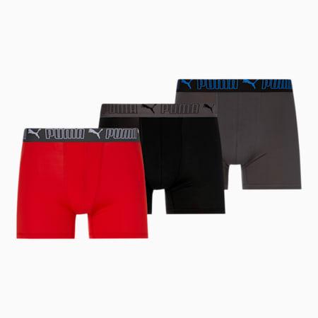 Caleçons boxeurs, coupe entraînement, homme [paquet de 3], ROUGE / GRIS, petit