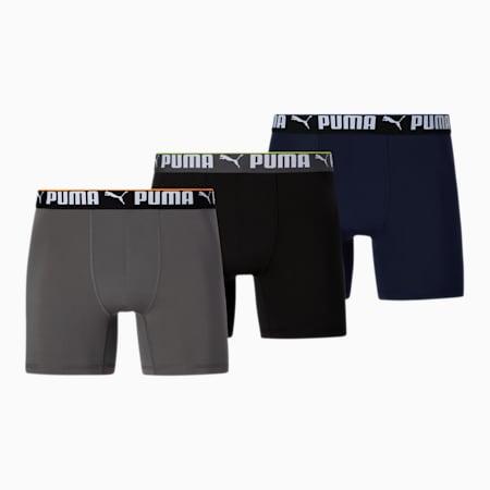 Caleçons boxeurs, coupe athlétique, homme (paquet de 3), BLEU/NOIR, petit