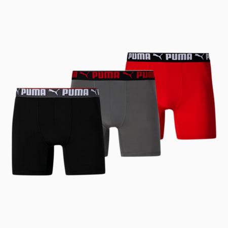 Caleçons boxeurs, coupe athlétique, homme (paquet de 3), ROUGE / NOIR, petit