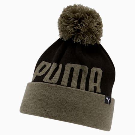 PUMA Slope Cuff Pom Beanie, Olive/Black, small