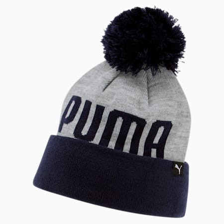PUMA Slope Cuff Pom Beanie, Grey/Navy, small
